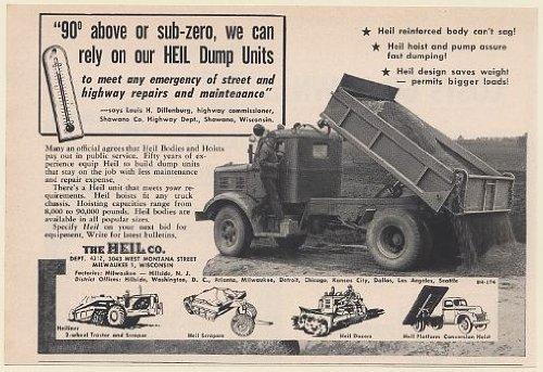 1952 Heil Dump Truck Louis H Dillenburg Shawano WI Highway Dept Print Ad (Memorabilia) (Highway Dump Truck)