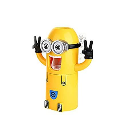 Ouken Cute súbditos de diseño de Lavado Conjunto Titular de Cepillo de Dientes automático dispensador de