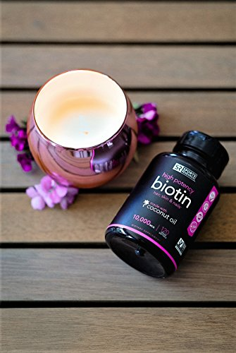 High Potency Biotin (10,000mcg) with Organic Coconut Oil; Supports Hair Growth, Glowing Skin and Strong Nails; 120 Mini-Veggie Softgels by Sports Research (Image #1)
