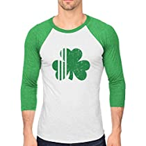 Tstars St. Patricks Day Irish Shamrock Clover Mens 3/4 Sleeve Baseball Jersey Shirt Large Green/White