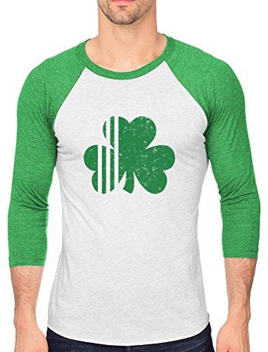 St. Patrick's Day Irish Shamrock Clover Men's 3/4 Sleeve Baseball Jersey Shirt Medium Green/White