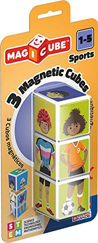 Geomag Magicube Sports, 3 Magnetic Cubes for Creative Play, Kids Ages 1-5, Educational Construction Toys Set