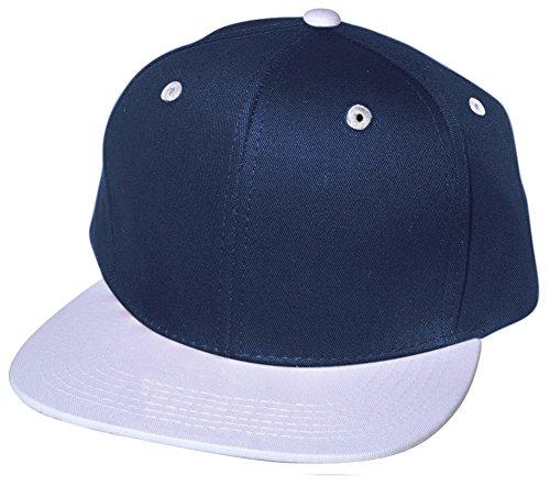 QML Premium Cotton Snapback Baseball Cap Solid and 2-Tones ( 33 Colors / Adjustable) (2 TONE, NAVY/WHITE) (Gorras Damas Para)