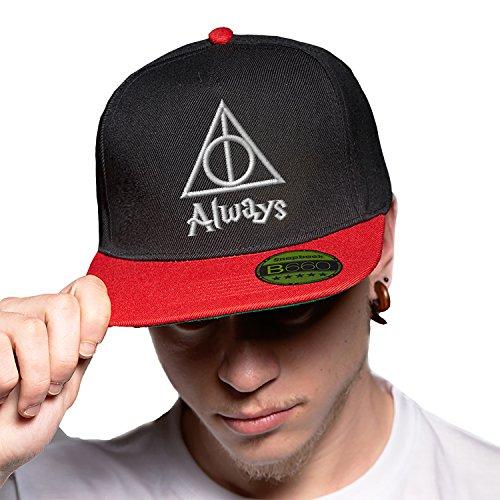 Always Triangle Harry Potter White Black Red Cap Original Gorra Snapback Unisex, Ajustable, con Visera Plana y Logotipo Urbano Bordado.