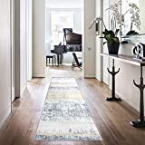 jinchan Contemporary Area Rug Runner Rug for Kitchen 2'2'' x 7' Gold Yellow Abstract Floorcover Indoor Soft Mat for Living Room Bedroom