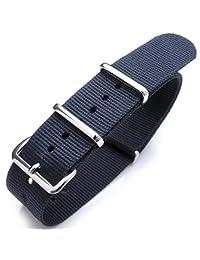 20mm G10 Heat Sealed Nylon NATO Watch Strap, Navy Blue, Buckle Polished
