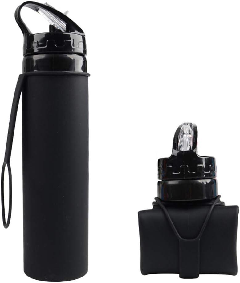 Alimagic Botella de Agua Plegable, Taza de Agua de Silicona, Plegable Botella de Agua 600ml otellas Reutilizables de Agua para Viaje y Deportes de Primera Calidad Silicona Ideal (Negro)