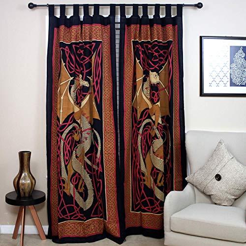 Celtic Dragon Tab Top Curtain-Drape-Door Panel-Red