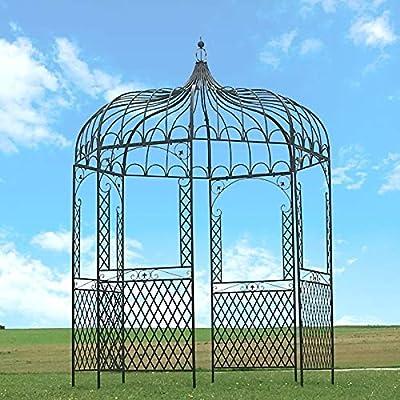 Chem_de_Campagne Gloriette Kiosque - Cenador de hierro de jardín (200 cm de diámetro), color blanco: Amazon.es: Hogar