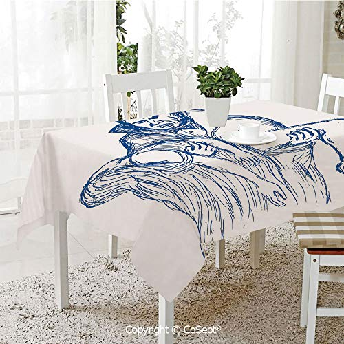 SCOXIXI Polyester Tablecloth,Count Dracula in Cape Carrying His Prey Victim Woman Sketchy Halloween Artwork,Fashionable Table Cover Perfect for Home or Restaurants(60.23