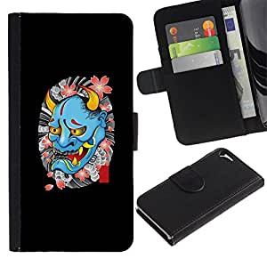 All Phone Most Case / Oferta Especial Cáscara Funda de cuero Monedero Cubierta de proteccion Caso / Wallet Case for Apple Iphone 5 / 5S // Devil Spring Tattoo Biker Rock Roll
