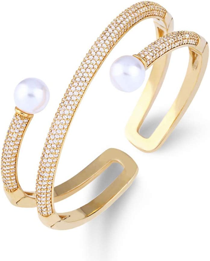 Z&HA Pulsera de Perlas Abiertas chapada en Oro, Perlas de circonitas Falsas y brazaletes de Diamantes de imitación Pulsera elástica Mujer (Oro, Plata),01