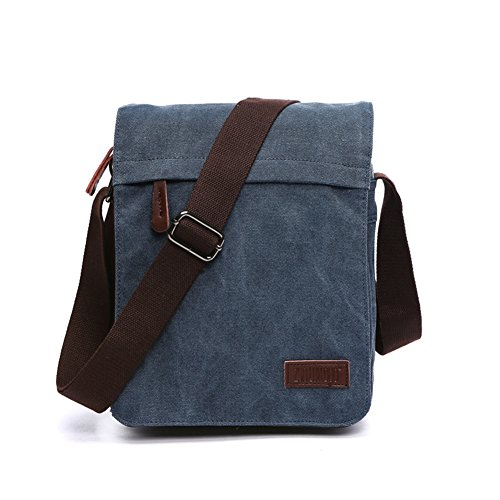 Sechunk Small Vintage Canvas Messenger Cross body bag Shoulder bag (m_Blue, middle)