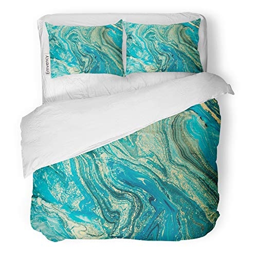 Emvency Decor Duvet Cover Set Twin Size Blue Marble Aquamarine Marbling Creative with Abstract Oil Cracks Liquid Paint 3 Piece Brushed Microfiber Fabric Print Bedding Set Cover ()