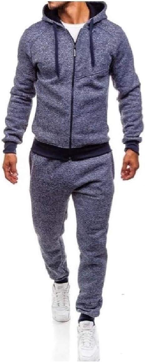SayahMen Hood 2 Piece Set Splice Casual Zip Pockets Fleece Sweatsuit