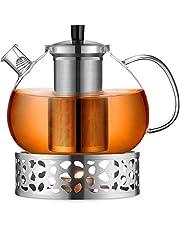 ecooe Oryginalny dzbanek do herbaty o pojemności 2000 ml, ze szkła borokrzemowego, zaparzacz do herbaty z podgrzewaczem ze stali nierdzewnej 18/10, wyjmowane sitko, nierdzewny, odporny na wysokie temperatury, do czarnej herbaty, zielonej herbaty owocowej, pachnącej herbaty i torebek herbaty