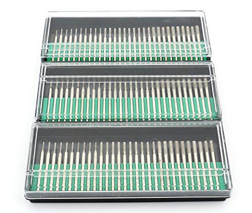 Lawei 90 pcs Diamond Burrs Bits Drill - Head Diameter 1 mm 30 pcs, 2 mm 30 pcs, 3 mm 30 pcs Glass Gemstone Metal for Power Drill Parts ()