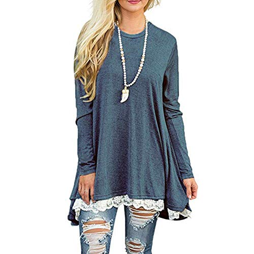 Anorak 1/4 Pullover Zip (Dressin Womens Ladies Casual Lace Long Sleeve Shirt Pullover Tops Blouse(7 Colors,S-XL))
