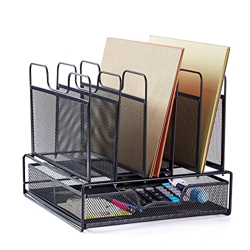 Rackarster Mesh Desk Organizer with Drawer - Vertical Office File Organizer Desktop Document Letter Tray Supplies Storage and 5 Upright Sections, Black 6 Upright Sections