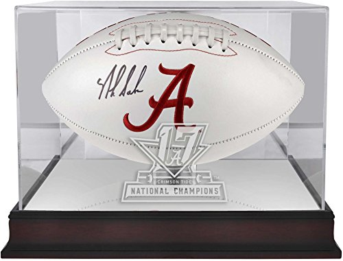 Sports Memorabilia Alabama Crimson Tide College Football Playoff 2017 National Champions Logo Mahogany Football Display Case
