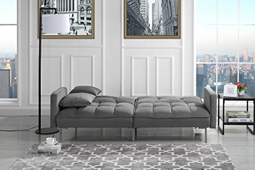 Modern Plush Tufted Velvet Splitback Living Room Futon (Dark Grey)