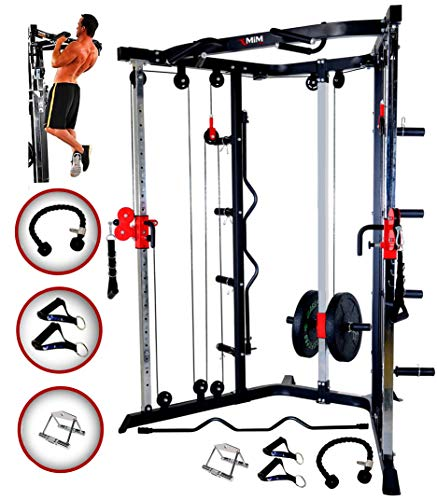 MiM USA Functional Trainer – Dual Adjustable Cable Machine – Home Cable Machine – FT 44 – with Triceps, Rope, V Bar, Handle Grip and Curl Bar – Home Gym Pulley – Gym Machines for Home