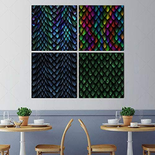 Wall Art Painting Picture Chinese Dragon Scale Metallic Texture Modern Hanging Photo Canvas Prints 4 pcs per Set with Wooden Frames for Bedroom Living Room Office Home Decor 16x16 Inch (Print Lizard Metallic)
