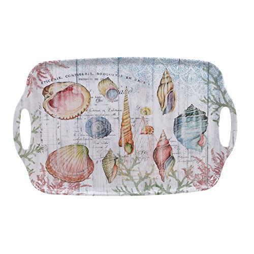Certified International Sanibel Melamine Rectangular Tray with Handles, 19