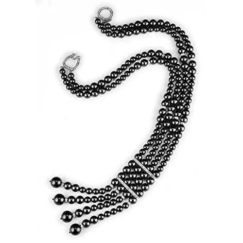 Kenneth Jay Lane Black Pearl Double Strand Necklace Pave