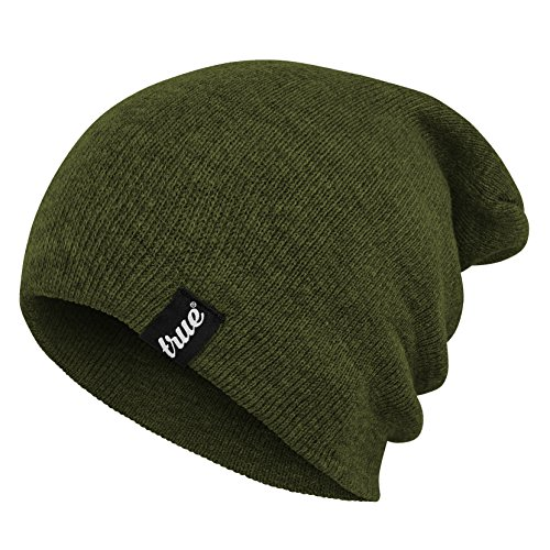 True Vision Mens Army Green Beanie Hat   Wear As Slouch Or Turn Cuff For Traditional Beanie Style   Soft   Comfortable One Size Fit   Winter Warm Knitted Acrylic   Unisex   Suitable For Men   Women