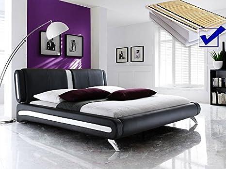 Acolchado Negro Completo Cama 160 x 200 + Somier + colchones Single - Cama Malin: Amazon.es: Hogar