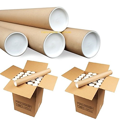 Cardboard Postal Tube + Plastic White End Caps A2 460MM X 76MM (Pack of 5) EGS