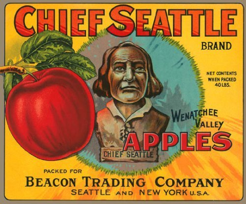 (Chief Seattle Wenatchee Valley Apples Usa Fruit Crate Label 12