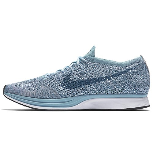Nike Femmes Flyknit Racer Blanc / Leggion Bleu 526628-102 (taille: 7)