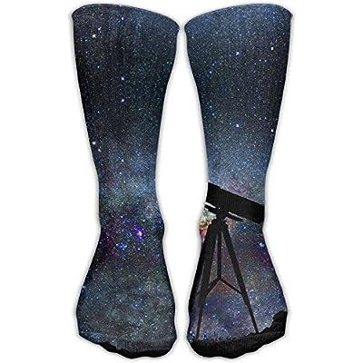 Men Women Premium Quality Galaxy Astronomical Telescope Fitness Novelty Crew Athletic Socks High Sock