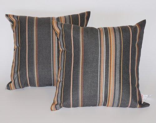 Toja All-Weather Outdoor Decorative Sunbrella Pillow Set (Square, Stanton Greystone) by Toja Patio Furniture
