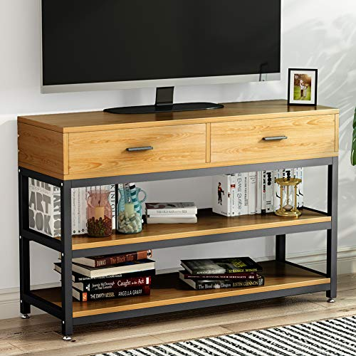 (LITTLE TREE Rustic Country Style TV Stand, Console Table with Two-Drawer, Solid Particle Board Finish with Metal Legs, Oak )