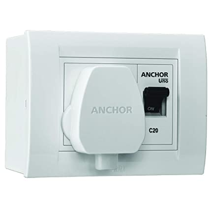 Anchor by Panasonic Polycarbonate Modular AC Box with 20Amps Single Pole  MCB, enclosure and Heavy Duty ISI Plug Top (White)
