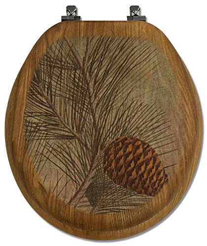 Artisans Seats Decorative Round Oak Toilet Seat, Made in America, Pine Cone - Round