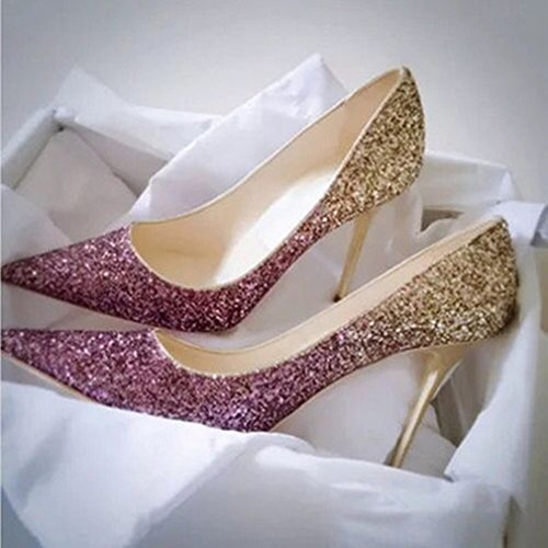 en F alto con solo lentejuelas de punta zapato con Zapatos un degradadas tacón qRT7wt