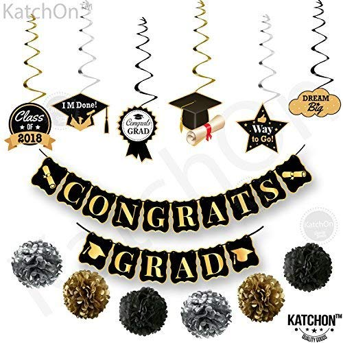 CONGRATS GRAD and Hanging Swirls Kit - Assembled, Graduation Party Supplies 2018 | Graduation Banner | Graduation Hanging Decorations for College Grad, High School Seniors Party D