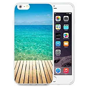 NEW Unique Custom Designed iPhone 6 Plus 5.5 Inch Phone Case With Wooden Dock Transparent Sea Water_White Phone Case