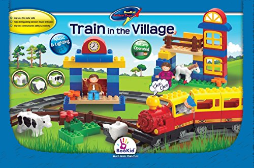 Building Blocks, Train in the Village. A Train Set with Battery Operated Locomotive, Lights and Sound