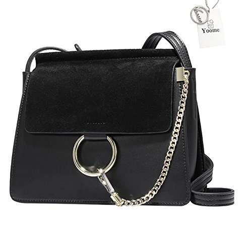 Yoome Women Genuine Leather Crossbody Shoulder Purse Chain Messenger Bag for Girls Split Fashion Clutch - Black