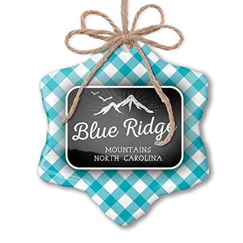 NEONBLOND Christmas Ornament Mountains Chalkboard Blue Ridge Mountains - North Carolina Blue Teal Turquoise Plaid