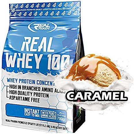 Real Pharm Whey 100 Eiweiß Protein WPC - 700g + Gratis Produktprobe! (Karamell)