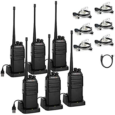 Radioddity GA-2S Walkie Talkies Long Range UHF Two Way Radio for Hunting Fishing Camping Security with Micro USB Charging Earpiece Programming Cable Pack