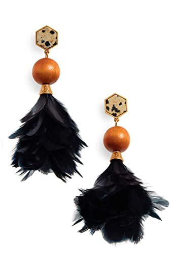 f9eb1da52 Image Unavailable. Image not available for. Color: Tory Burch Women's  Jasper Navy Feather Earrings