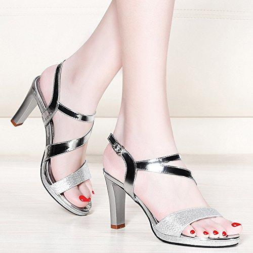sandalias tacones verano' sandalias damas silvery talones de y Damas Las UE RUGAI damas de Bx6wHSS