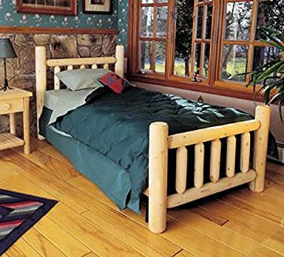 "82"" Cedar Log-Style Handcrafted Wooden Queen Bed Frame"